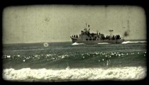 Tourist cruise boat 2. Vintage stylized video clip.