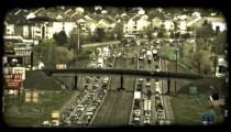 Busy city highways. Vintage stylized video clip.