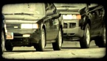Busy intersection. Vintage stylized video clip.