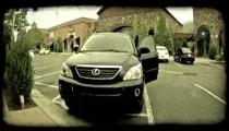 Car pulls into parking spot. Vintage stylized video clip.