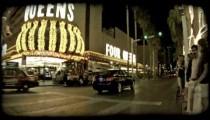 Black car in Las Vegas. Vintage stylized video clip.