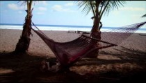 Someone swings in a hammock and looks at beach with dog