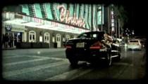 Black car in Vegas 3. Vintage stylized video clip.
