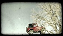 Jeep drives red rock 2. Vintage stylized video clip.