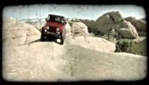 Jeep on slickrock 2. Vintage stylized video clip.