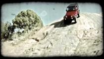 Jeep on rock hill 2. Vintage stylized video clip.