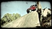 Jeep on rock hill 1. Vintage stylized video clip.