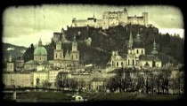 Old town Salzburg 2. Vintage stylized video clip.