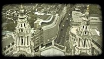 Overlook of London. Vintage stylized video clip.