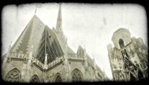 St. Stephen's Cathedral. Vintage stylized video clip.