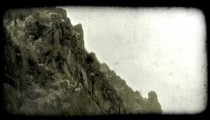 Mountain ledge 1. Vintage stylized video clip.