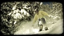 Expert skier skis down moutain. Vintage stylized video clip.