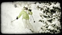 Female skier skis down hill. Vintage stylized video clip.