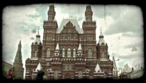 Red Square in Moscow 1. Vintage stylized video clip.