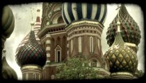 St. Basil's Cathedral 2. Vintage stylized video clip.