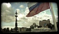 Russian flag. Vintage stylized video clip.