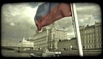 Russian flag on boat. Vintage stylized video clip.