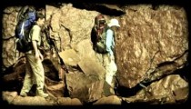 Couple hiking 4. Vintage stylized video clip.
