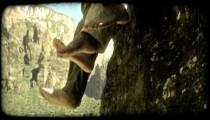 Mountain to feet. Vintage stylized video clip.