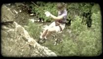 Woman repels 2. Vintage stylized video clip.