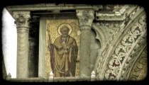 Static shot of a fresco painting on a church wall. Vintage stylized video clip.