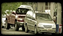 People at gas station. Vintage stylized video clip.
