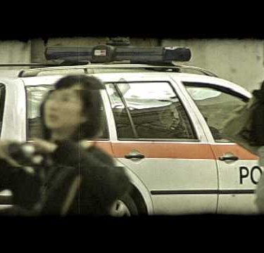 A police car going through the streets of Rome, Italy. Vintage stylized video clip.