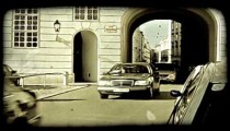 Traffic on the streets of Rome, Italy. Vintage stylized video clip.