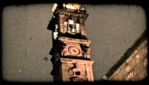 Night Clock Tower. Vintage stylized video clip.
