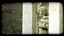 Man with Lamb. Vintage stylized video clip.