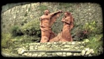 Man and Woman Statue. Vintage stylized video clip.