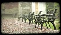 Park Benches. Vintage stylized video clip.
