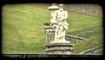 Man Statue. Vintage stylized video clip.