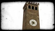 Clock Tower. Vintage stylized video clip.