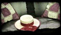 A gondolier's hat on his gondola seat in Venice, Italy. Vintage stylized video clip.