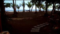 Dolly shot of beach resort grounds