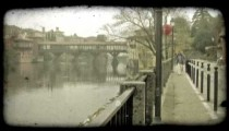 Bridge Walkway. Vintage stylized video clip.