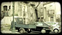 Town Buildings. Vintage stylized video clip.