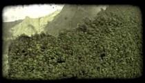Hawaiian mountain edge. Vintage stylized video clip.