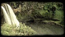Waterfall and pool 1. Vintage stylized video clip.