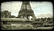 Eiffel Tower and Sienne. Vintage stylized video clip.