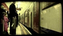 People in subway. Vintage stylized video clip.