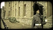 Guard marching. Vintage stylized video clip.