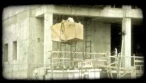 Hoe is lowered. Vintage stylized video clip.