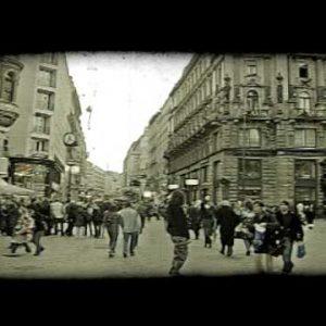 Vienna plaza. Vintage stylized video clip.