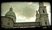Pan of Austrian church. Vintage stylized video clip.