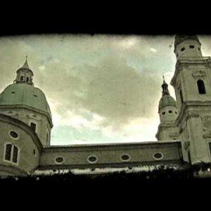 Pan of Austrian church. Vintage stylized video clip.