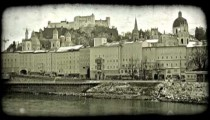 Old town Salzburg. Vintage stylized video clip.