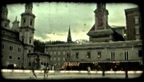 People ice skating. Vintage stylized video clip.
