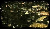 Sparkling city night lights. Vintage stylized video clip.